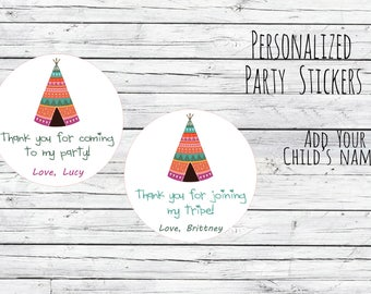 Personalized Tribe Tribal Teepee Stickers, Birthday, Joing Tribe, Birthday Party Favor, Thank You Tags, Stickers Choose Size