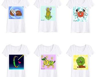 FRUITS&VEGGIES LADIES white T-shirt, V neck