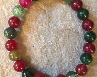 Agate semi precious gemstone 8mm & 6mm smooth beaded bracelet
