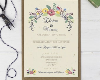Floral Wedding Invitation  Wedding Seeds   Flower Wedding Invitation    Plantable Card  Country Wedding