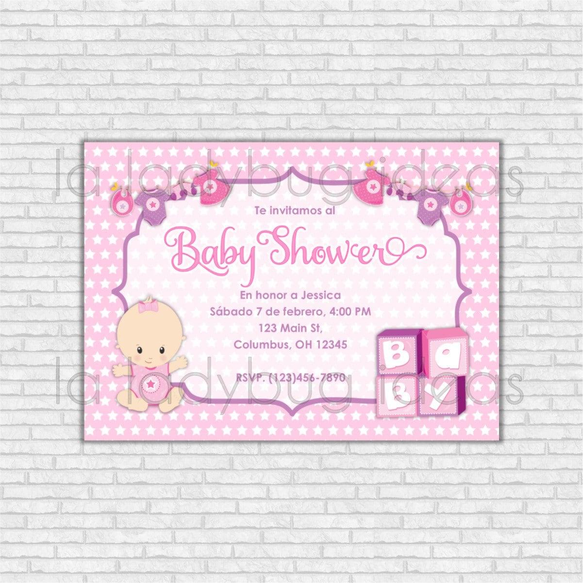 Invitaci n digital baby shower para ni a rosa imprimible - Baby shower de nina ...