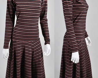 Vintage Betsey Johnson 1980's punk label body con striped dress    S5