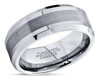 Tungsten Wedding Band,Tungsten Wedding Ring,Beveled,Brushed Polish,Anniversary Ring,Engagement Band,His,Hers,8mm Tungsten Ring,Matching Set