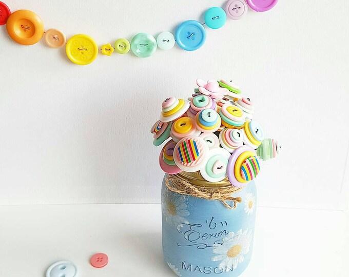 pastel rainbow button bouquet