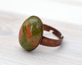 Unakite jasper ring, Green jasper copper ring, Jasper ring, Unakite jasper cabochon ring, Jasper copper ring, Ring jasper red copper