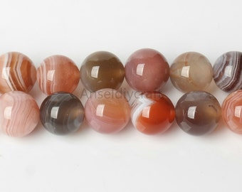 B472 Natural Orange Botswana Agate Beads Supplies, Full Strand 8 10mm Round Orange Agate Gemstone Beads for Jewelry Making,semi precious