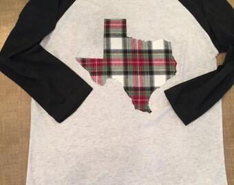 Plaid Texas Raglan, Texas Shirt, Texas Raglan, Plaid Shirt, Plaid Raglan, Texas, Plaid Texas, State Pride, Texas T-Shirt, Texas Tee, Raglan