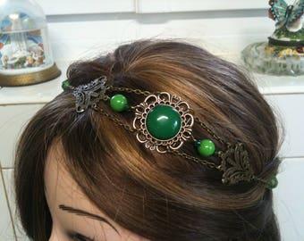 chain headband bronze Palm tree and green semi precious AGATE and JADE pearls/serre tete bronze palmier en chaine avec pierre de Jade verte