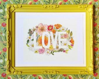 Love and Wildflowers Wall Art Print - 8x10