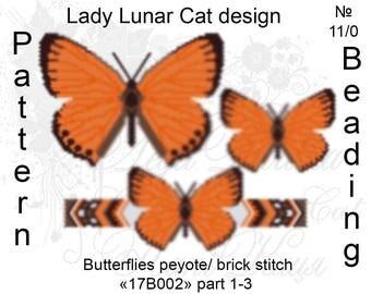 Butterfly patterns, Lycaena virgaureae patterns, Peyote pattern, Spring patterns, Colorful pattern, Summer patterns, Peyote stitch, Beading