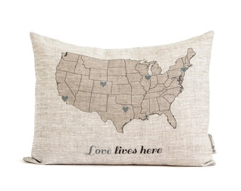 Rustic Gift For Mom, Gift for Parents, Personalize Map Pillow, Housewarming Gift, Gift for her, Rustic Home Decor, Decorative Pillows