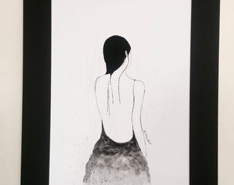 Ink Drawing , Art Girl