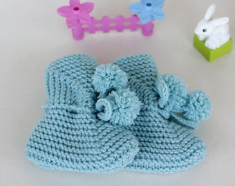 Hand knit Mint baby booties, Baby Booties with Pompons size 0 to 24 Months, Baby Shoes Mary Jane Booties, gift ideas