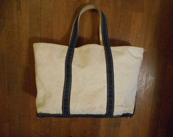 vintage ll bean boat and tote canvas bag cream with navy blue trim freeport maine made in usa