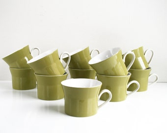 Ben Seibel Mikasa Duplex Avocado Green Coffee Tea Cups Set of 11
