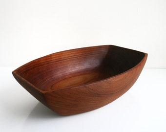 Danish Modern Large Solid Teak Wood Serving Bowl