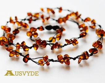 Long amber necklace for adults. Natural amber necklace. Cognac amber color, chips style. 75 cm (29,5 inch). 6178/m