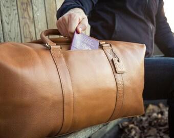 Caramel Tan (Side Pocket Model) - Real Leather Duffle / Duffel Bag by Fox Archer - Leather Duffle Weekend Holdall Travel Gym Bag