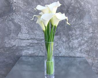 SALE! Faux Silk Floral Arrangement, Faux Water, Artificial Flower Arrangement, Wedding Flowers, Home Decoration -