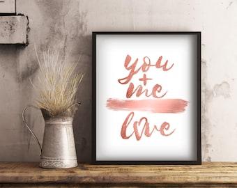 You Plus Me, Love Print, Printable Rose Gold Wall Art, Girl Boss Office Decor, Digital Download