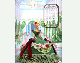 Barbie Sindy Knitting Crochet Pattern Doll Clothes Victorian Dress Costume Annie's Calendar Bed Doll Society 'January' Barbie