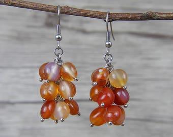 Drop Earrings Boho Beads Earrings Red Beads Earrings Agate beads earrings Red Agate Earrings Red Earrings Gemstone Earrings ED-039