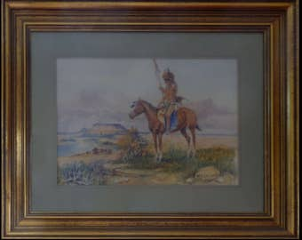 Warrior by W. S. Seltzer Watercolour Painting