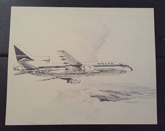 Vintage Plane Sketch; Delta Airlines 50th Anniversary Airplane Print; L-1011; Airline Anniversary Gift