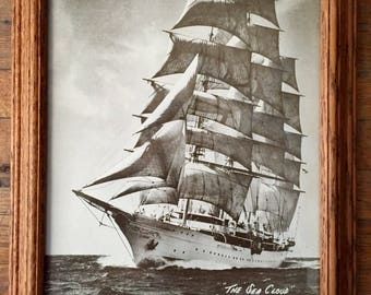 """Sailing Ship Picture; Ship Wall Hanging; """"The Sea Cloud""""; Wood Framed Ship Print; Sailboat Picture; Nautical Decor; Vintage Wall Hanging"""