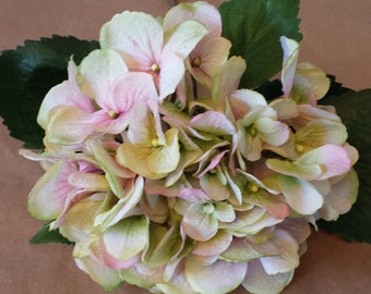 Silk Hydrangea stem pink and green artificial Hydrangea stem fake flowers by the stem cottage chic hydrangea real looking hydrangea stem