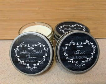 Wedding party favor/ Bridal Shower favor/ Bachelorette favor - set of 6 - 4 oz candles