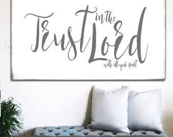 Trust In the Lord Modern Farmhouse Wall Decor Gift for Her Scripture Sign Bible Verses Bible Scripture Signs Large Farmhouse Sign Home Decor