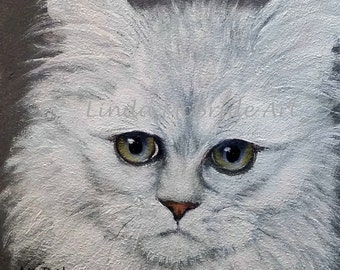 White Persian Cat 3x3 gift enclosure card from my original oil painting with envelope.