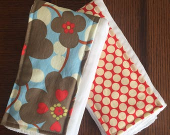 Floral and Dot burp cloth set