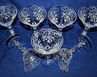 Cambridge Glass Portia Clear Etched Crystal Sherbets, Cambridge Glass Etched Stemware