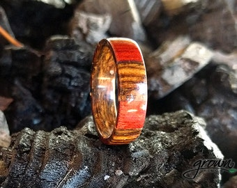 Bocote and Bloodwood Ring, man ring handmade, whiskey barrel ring, jack daniels wedding band