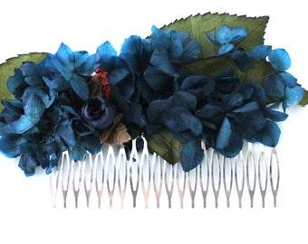 Flower,hydrangea,navy,blue,flower,comb,elegant,boho,wedding,blue,naural,preserved,frida,boho,wild