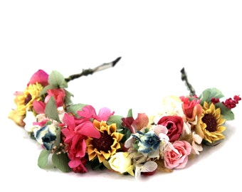 Pink,blue,sunflower,green,pink,rose,dried flowers, flower,hydrangea,crown,wreath,hair dress,fucsia,blue,navy,boho,forest,beautiful,mixed