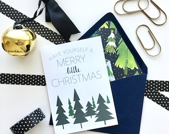 Holiday Card, Christmas Card, Have Yourself A Merry Little Christmas Card, Christmas, Handmade Card, Handlettering