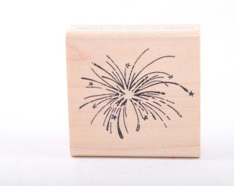 Fireworks, Fourth of July, Rubber Cottage, Rubber Stamp, Vintage, Craft, Card Making, Scrapbook, Single Stamp ~ 161218