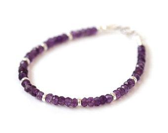 Genuine Amethyst Bracelet, Beaded Purple Quartz Bracelet, 925 Sterling Silver Jewelry, February Birthstone, Delicate Stacking Bracelet