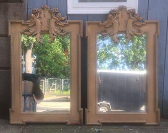 Vintage Cherub Design Wall Mirrors Pair
