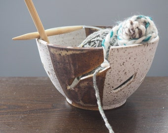 Ceramic Yarn Bowl, Modern Ceramic Yarn Bowl, Speckled White Yarn Bowl, Knitting Crochet Yarn Bowl