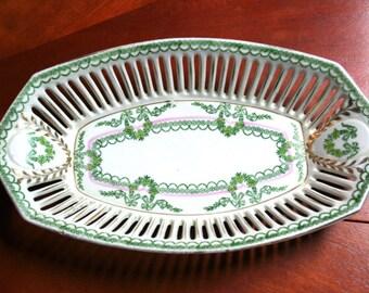 Vintage Bavarian Reticulated Porcelain Oblong Serving Bowl