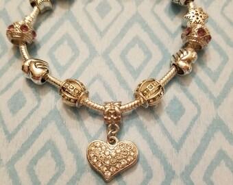 Heart Charm Bracelet,  Silvertone