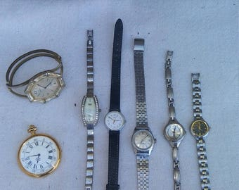 6 vintage wrist watches and one pocket watch