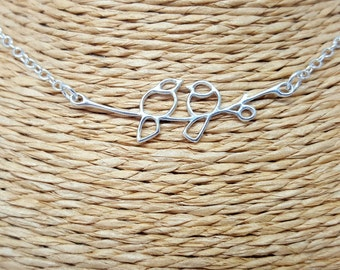 Sterling silver necklace, silver jewellery, silver necklace, lovebirds necklace, lovebirds jewellery, romantic gift, gifts for her,