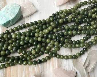 8mm Canadian Jade Rounds, Canadian Jade Beads, Green Jade, Nephrite Jade, Jade Beads, Green Jade Beads, Jade, BC Jade, 8mm Jade, GS032