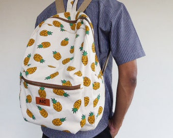 Pineapple  backpack,large backpack,canvas school backpack,back to schoolGift For Her,Kid bag,personalized gift,Teen gift,personalized gift