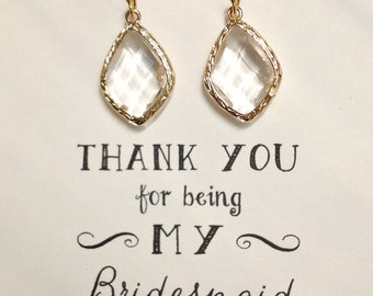 Gold Crystal Earrings for Bridesmaids, Bridal Earrings, Clear Crystal Earring, Gold Drop Earring, ES1